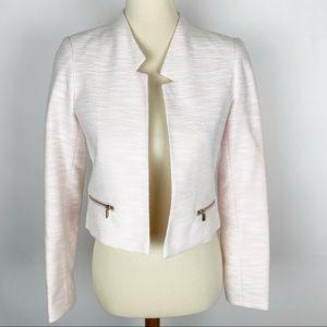 CALVIN KLEIN Pink Tweed Open Front Cropped Jacket